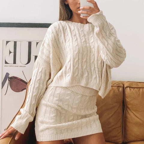 Woman Fashion Simple Pure Color Loose Long Sleeve Knitted Sets