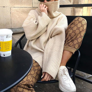 Woman High Neck Loose Long Sleeve Knit Sweaters