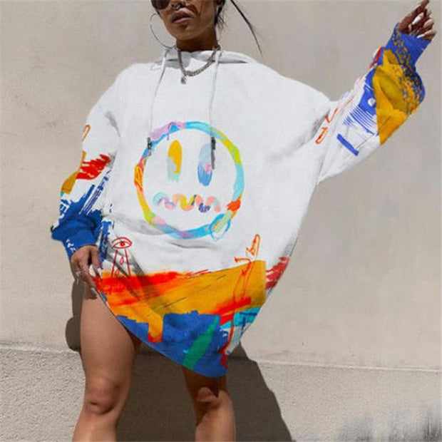 Women'S Fashion Printed Hooded Long Sleeve Sweatshirt