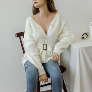 Woman lace-up V-neck versatile loose long sleeve knit Sweaters