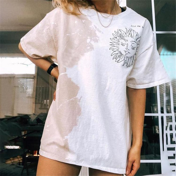 Women'S Black Printed Round Neck Short Sleeve Pullover T-Shirt