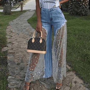 Woman mesh stitching wide-leg Pants