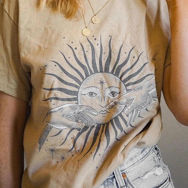 Women's sun print crew neck short sleeve T-shirt