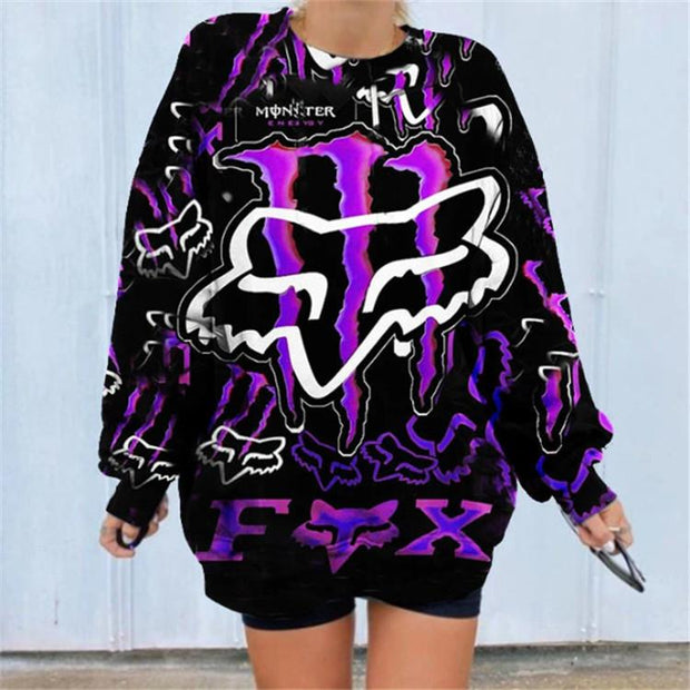 Printed Round Neck Long Sleeve Mid-Length Pullover Sweatshirt