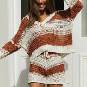 Woman Casual Striped V-Neck Knit Sets