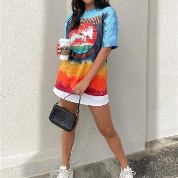 Angel Tie-Dye Print Short Sleeve Round Neck Pullover T-Shirt
