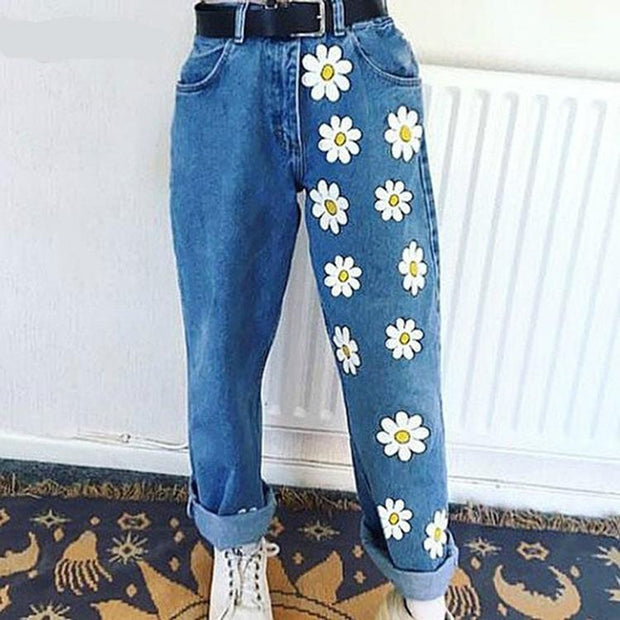 Woman print thin denim Jeans