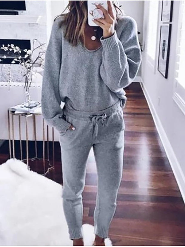 Women'S Loose Fit Plain V-Neck Casual Suit