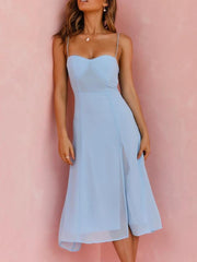 Sexy Strap Solid Party Midi Dress