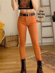 Casual Daily Slim Solid Color Trousers
