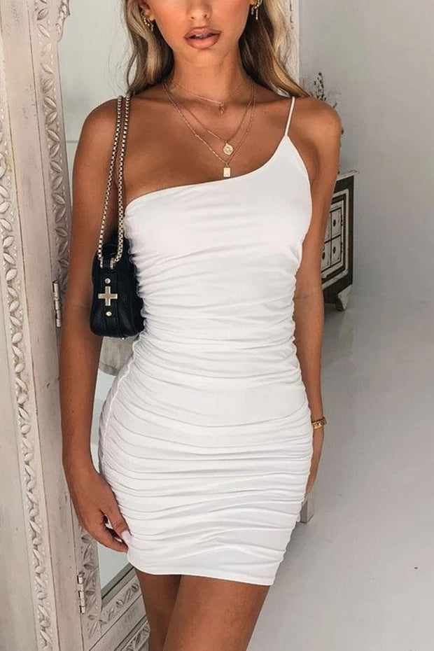 Sexy one shoulder halter bodycorn dress
