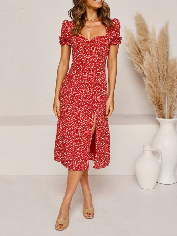 puff sleeves ruched bust split floral print midi dress