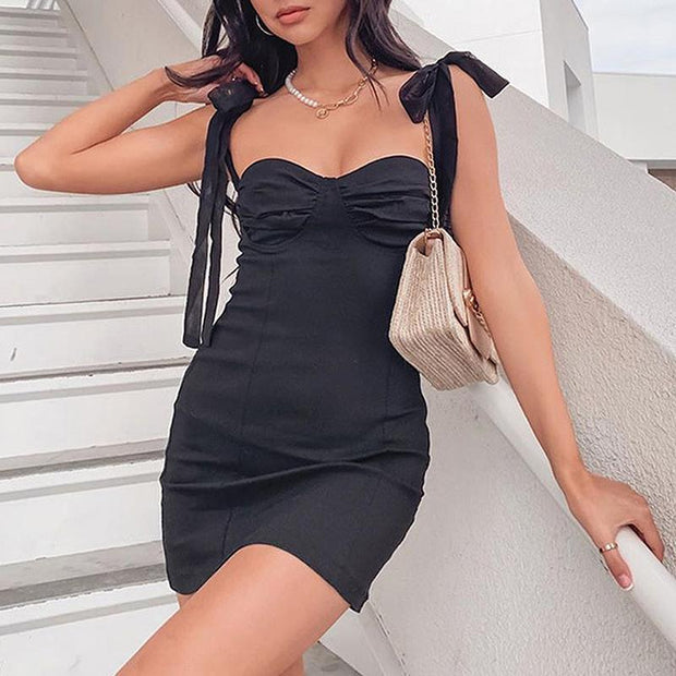 Sexy bow slim dress