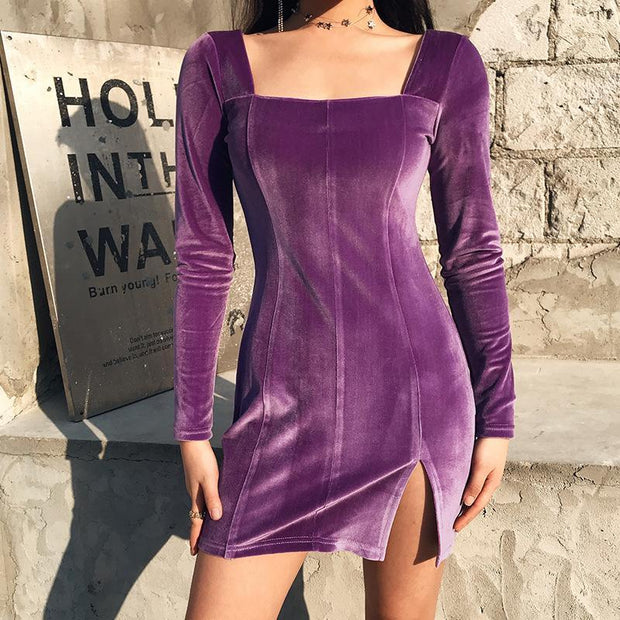 2020 sexy slim close waist slit A-line dress