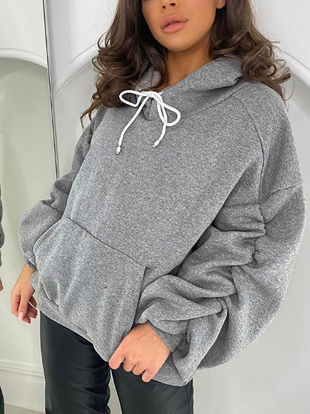 Women'S Pile Sleeve Hooded Pullover Loose Solid Color Sweathsirt