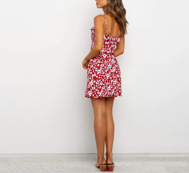 women sexy backless sling print dress