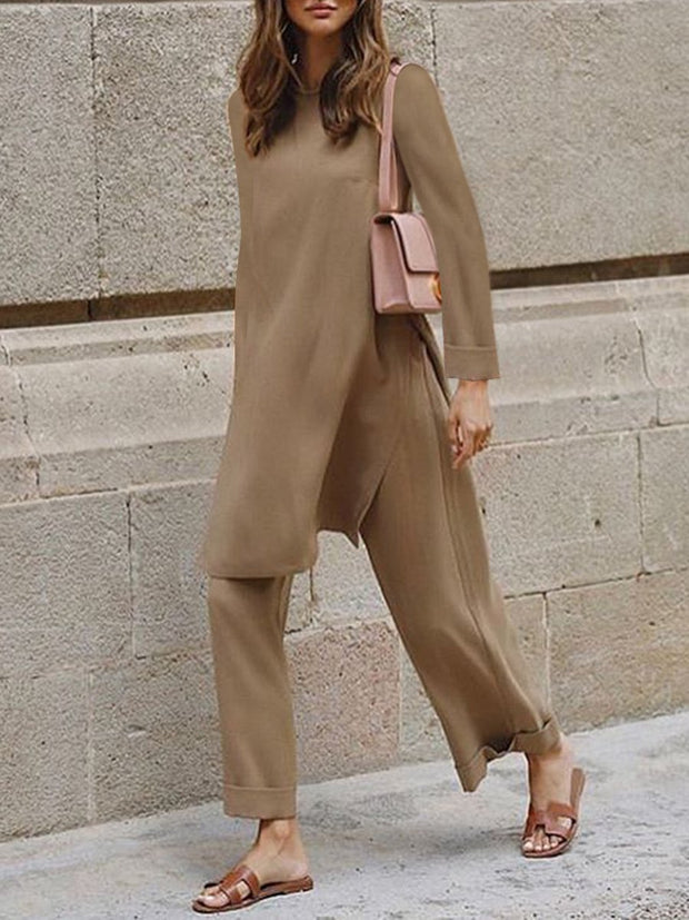 Women's Fashion Casual Long Sleeve Solid Color Two-piece Suit