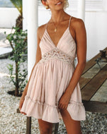 Women hollow stitching deep V strap dress