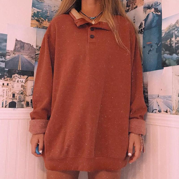 Fashion pure color long sleeve lapel sweatshirt