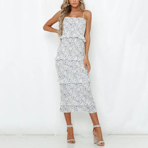 Sexy wrapped chest strap ruffled bodycon dress