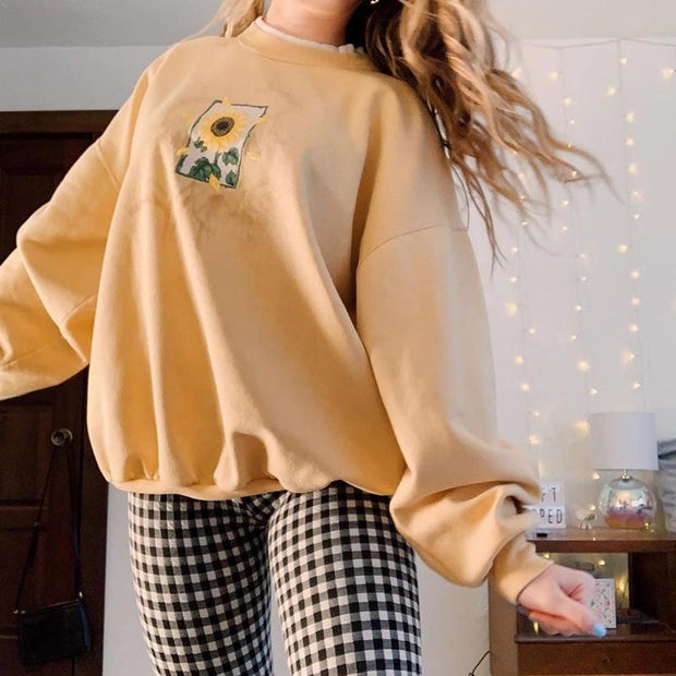 FASHION WOMEN LONG SLEEVE FLOWER PRINTED SWEATSHIRT