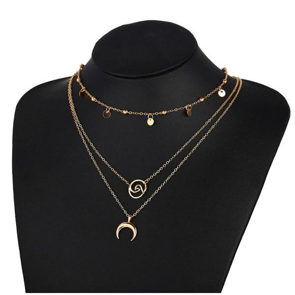 Creative Retro Horn Wave Three-Layer Multi-Layer Necklace