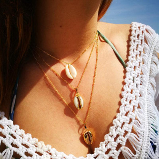 Women shell pendant multilayer Necklaces