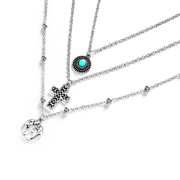 Women Cross World Map Turquoise Combination Three-layer Necklaces