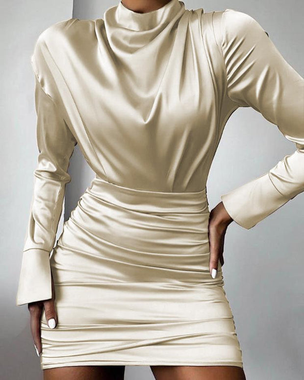 Women's long sleeve apricot slim sexy bodycon dress