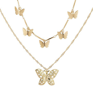 Women Bohemian butterfly pendant double necklace Necklaces