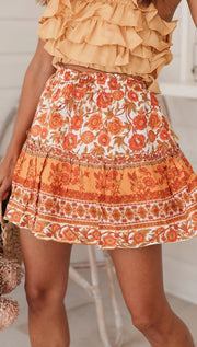 Women Bohemian Ethnic Ruffle Printed Skirt