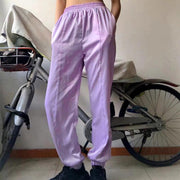 Women Hip Hop Streetwear Purple Satin Cargo Long Harem Pants Trousers