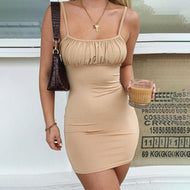 Woman solid color suspender neckline halter mini dress