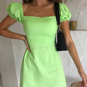 Woman square neck bubble short sleeve mini dress