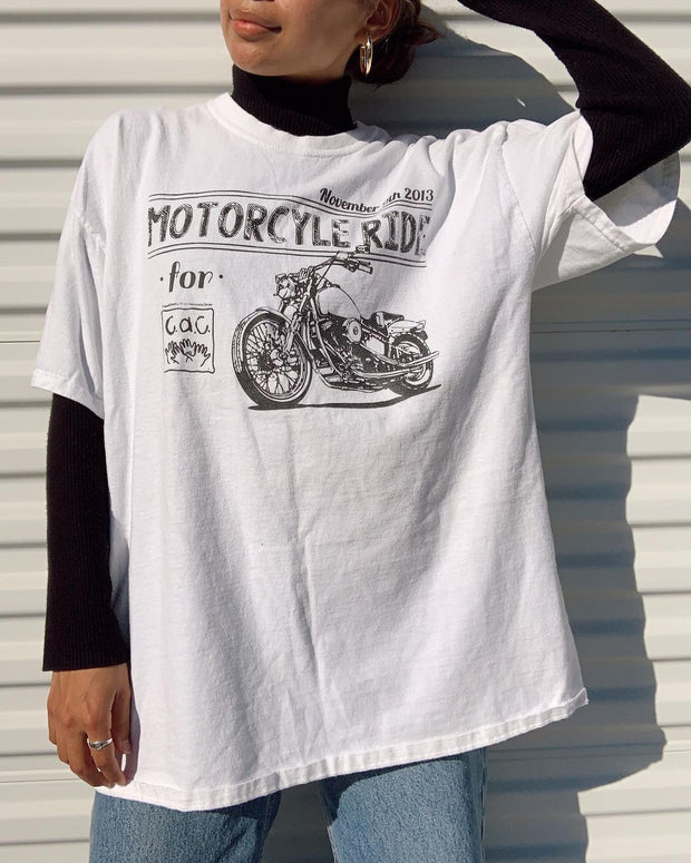 Motorcycle Print Short Sleeve T-Shirt