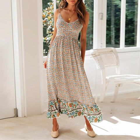 Fashion Printed Spaghetti Strap Midi Dress