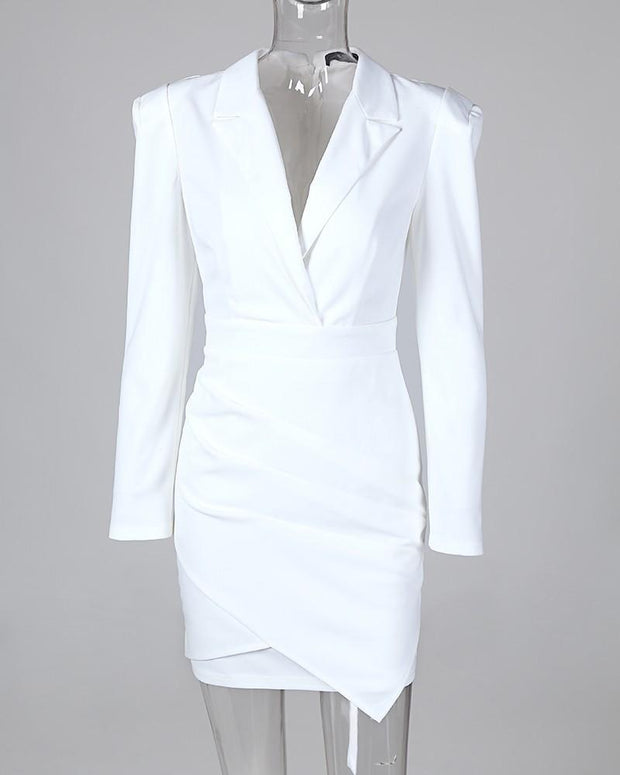 Notched Collar Padded Shoulder Ruched Blazer Dress