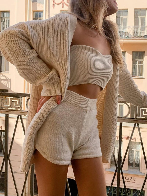 Casual Knitted Cardigan Three-Piece Suit
