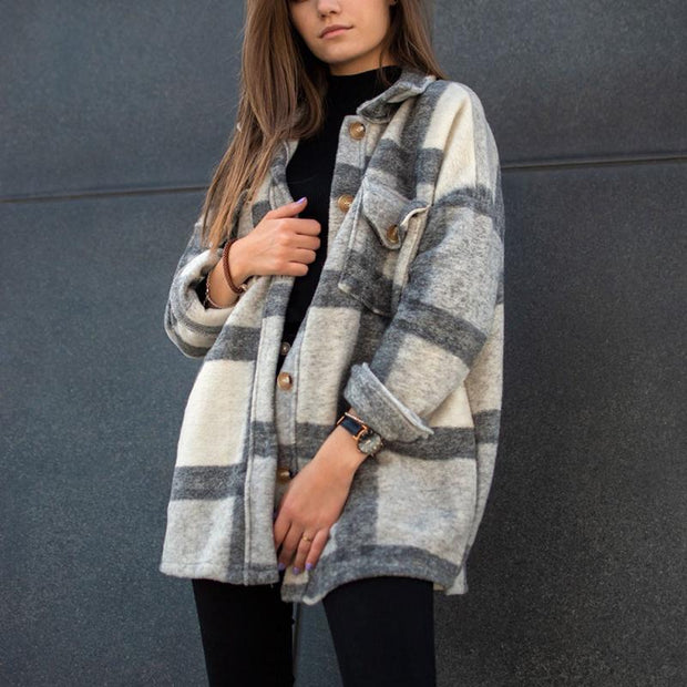 Mid-length plaid jacket (gray)
