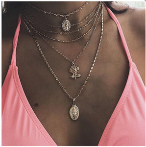 Women Geometric  Rose  Necklaces
