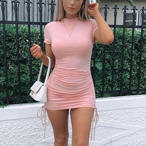 Solid color ribbed drawstring short sleeve mini dress