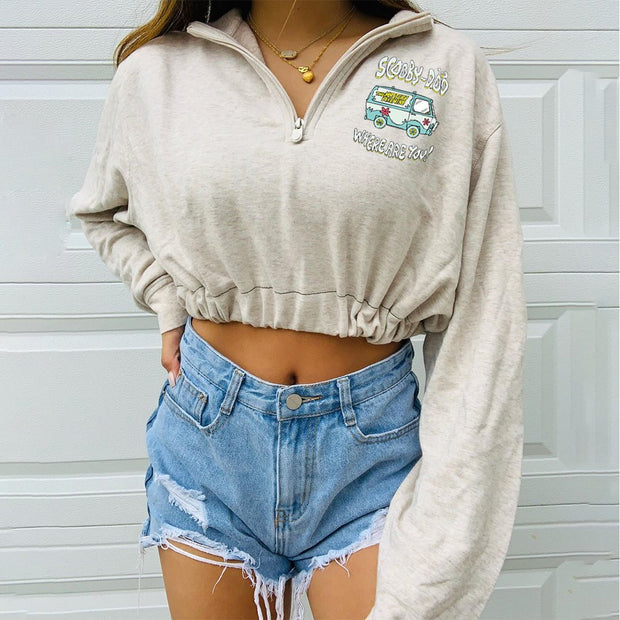Woman fashion cartoon short waist sweatshirts