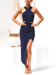 Halter-Style Sexy Shoulderless Slim Split Bodycon Dress