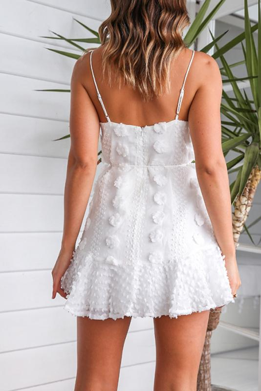 Woman sexy casual white suspenders mini dress