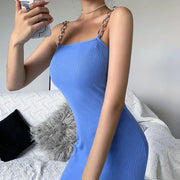 Woman sexy slim thread strap mini dress