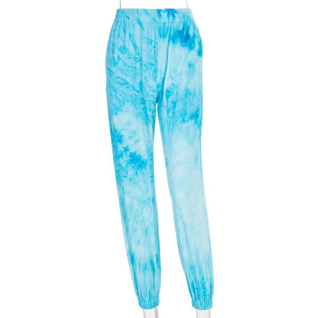 Tie-dye fashion casual high waist slimming street shot trousers