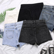 Solid color casual shorts wild basic jeans