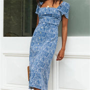 V-neck Sling Split Midi Dress