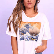Women twilight wave print crew neck T-shirt