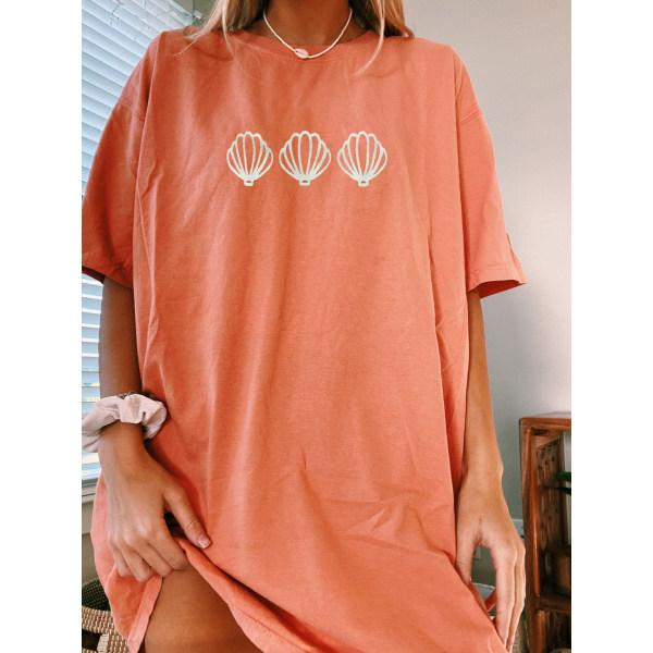 Women Bright Coral Shell T-shirt